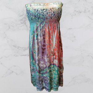 LAPIS Embroidered Tie Dye Sequin Strapless Dress